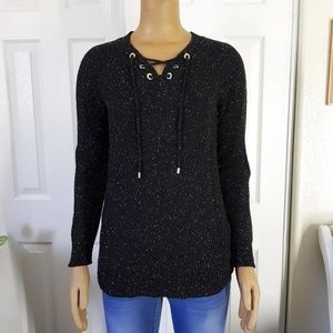 Calvin Klein Speckled Lace-Up Sweater Black S